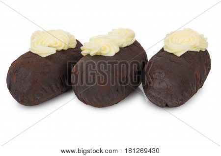 Three Chocolate Biscuit Cakes With Buttercream Isolated On White