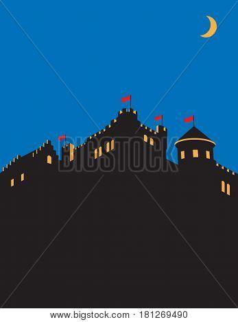 Castle vector design. Medieval castle silhouette vector illustration.