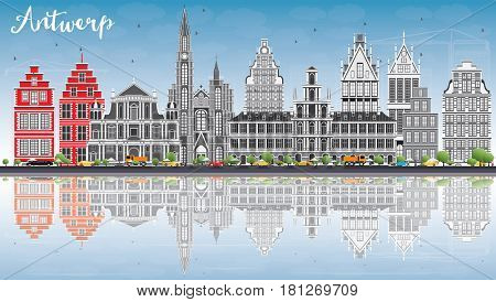 Antwerp Skyline with Gray Buildings, Blue Sky and Reflections. Business Travel and Tourism Concept with Historic Architecture. Image for Presentation Banner Placard and Web Site.