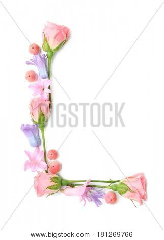 Letter L made of flowers on white background