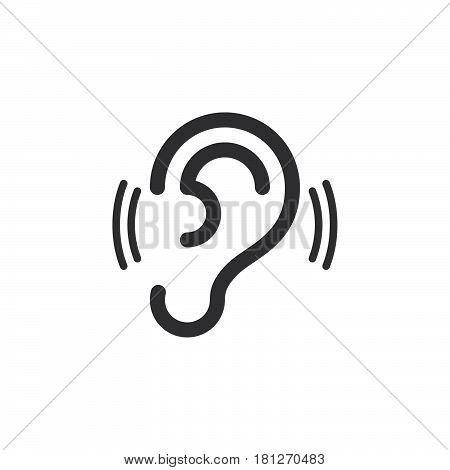 ear hearing icon vector filled flat sign solid pictogram isolated on white. Symbol logo illustration. Pixel perfect