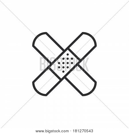 Band aid adhesive bandage line icon outline vector sign linear style pictogram isolated on white. Symbol logo illustration. Editable stroke. Pixel perfect