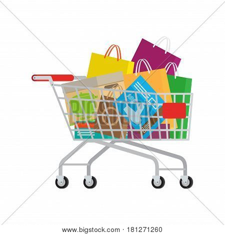 Self-service supermarket, full shopping trolley, cart with products. Vector illustration of cart full of purchases, boxes and bags on white background. Big shopping day. Buy various stuff for home.