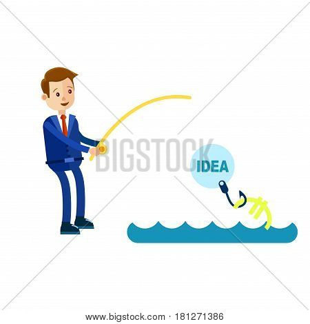 Cartoon businessman in blue suit and red tie fishes out money with rod and uses idea as bait isolated on white background. Symbolic vector illustration about how good ideas can bring big money.