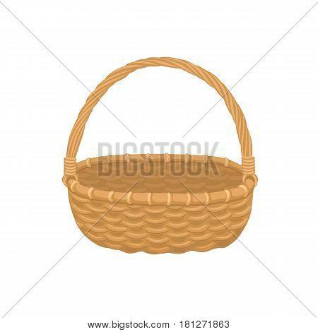Picnic basket isolated on white background. Illustration of empty bamboo basket.