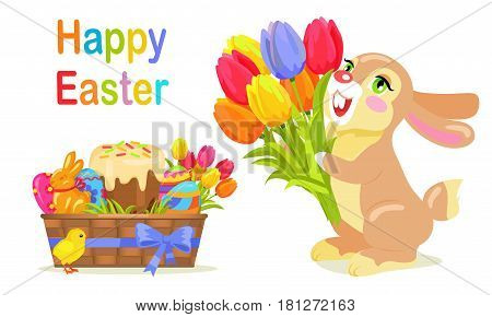Happy Easter postcard design in flat style. Milk chocolate bunny with bouquet of fresh tulips in basket with holiday eggs, sweet cake and mascot chicken symbol. Vector illustration of sweet gifts