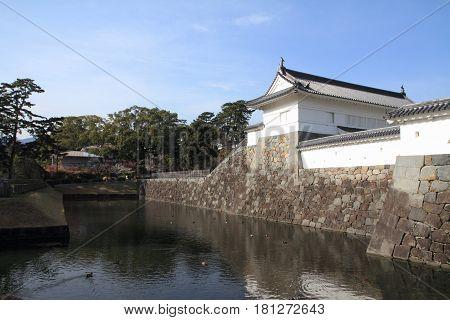 Akagane Gate And Sumiyoshi Moat Of Odawara Castle In Kanagawa, Japan
