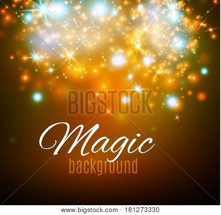 Magic Space. Fairy Dust. Infinity. Abstract Universe Background. Blue Background and Shining Stars. Vector illustration .
