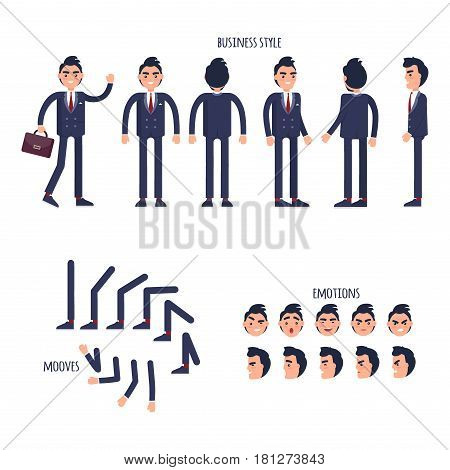 Set of business style, face emotions, moves of limbs flat design isolated on white with text. Vector illustration of man in blue business suit, facial feeling, bent elbows, straight knees for web.