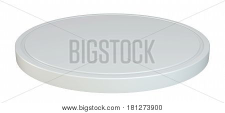 White round podium. Pedestal scene. 3d rendering isolated on white background.