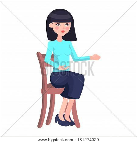 Young woman job candidate presenting herself. Beautiful brunet female in strict clothing seating on chair flat vector isolated on white. Employer Interview illustration for business career concepts