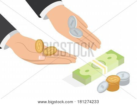 Offer of money isometric projection concept. Businessman hands point to banknotes pack and stack of coins vector on white. Loan proposition, donation or salary 3d illustration for business concept