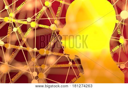 Tags cloud. Schizophrenia relative brochure design. Scientific medical designs. Molecule And Communication Background. Connected lines with dots. Human head silhouette. 3D rendering. Metallic material