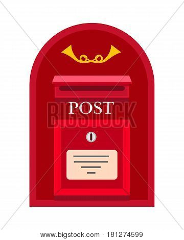 Traditional wall mounted metal mailbox with horns and lock flat vector illustration. Vintage locked red container for letters isolated on white background. Classic postal box for correspondence