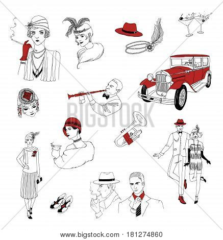 1920s retro collection. Vintage people and things. fashionable men and women of twenties hand drawn set. Vector illustration