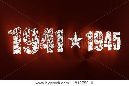 May 9 Russian holiday Victory Day background template. Happy Victory day. 1941 and 1945 cracked numbers. 3D rendering. Neon shine