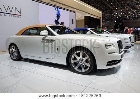 GENEVA SWITZERLAND - MARCH 7 2017: New 2018 Rolls Royce Dawn 'Inspired by Fashion' luxury car presented at the 87th Geneva International Motor Show.
