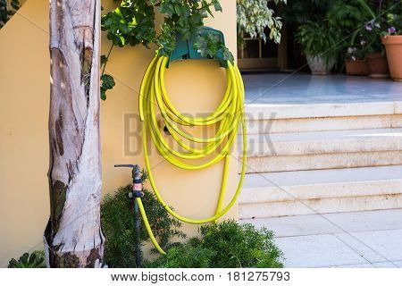 Garden hose pipe outdoor. Water taps and green garden hose with a sprayer
