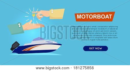 Buying motorboat online boat selling web banner vector illustration. Transport advertising company e-commerce concept. Getting new key of new boat. Business agreement of ncouraging customers.