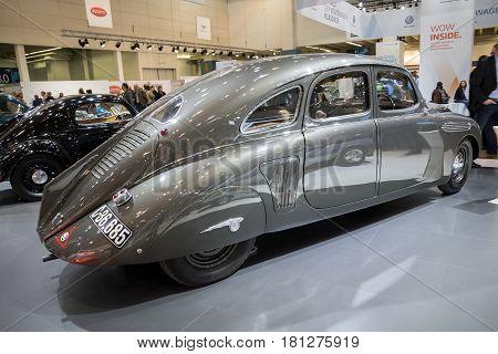 ESSEN GERMANY - APR 6 2017: 1935 Skoda 935 Dynamic vintage car presented at the Techno Classica Essen Car Show.