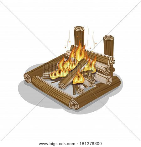 Bonfire from logs with flame isolated on white. Fireplace warm concept for preparing food or getting warm in flat design. Vector illustration of isolated firewood in square shape with burning flame
