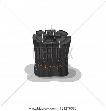 Burned bonfire black stump isolated on white. Vector illustration of cleft piece of wood with red sparks and smoke in flat design. Touristic symbol of hot burnt isolated firewood used for heat poster