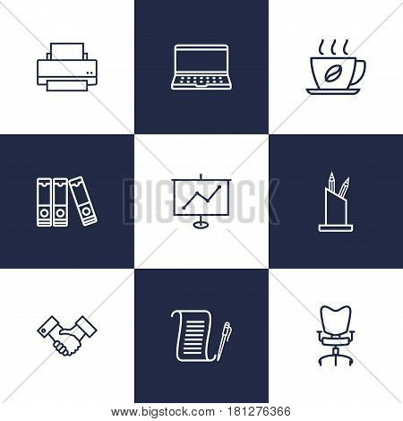 Set Of 9 Work Outline Icons Set.Collection Of Pen Storage, Document Case, Printing Machine And Other Elements.