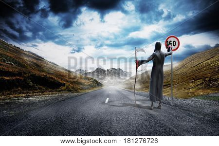 Concept Of Dangerous Excess Speed Death Drawing A Figure On A Speed Limit Sign 3D Render Background