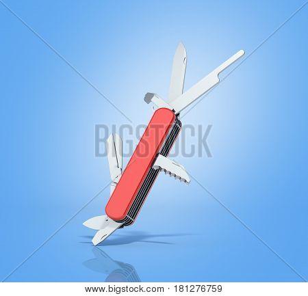 Red Penknife 3D Render On Blue Background