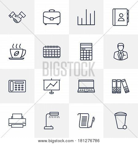 Set Of 16 Bureau Outline Icons Set.Collection Of Hot Drink, Agreement, Recycle Bin And Other Elements.