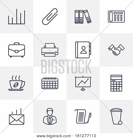 Set Of 16 Service Outline Icons Set.Collection Of Counter, Printing Machine, Telephone Directory And Other Elements.