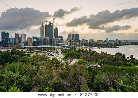 Perth City viewed from Kings Park, Western Australia, Australia. 17th July, 2016.
