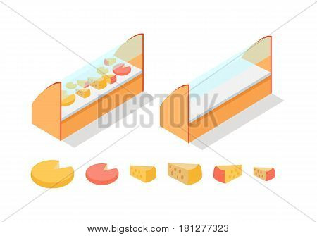 Cheese in shop showcase isometric vector illustration. Dairy products on supermarket shelves 3d model isolated on white background. Full and empty groceries fridge isometry for game, app, icon, web