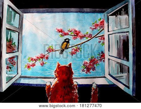 Illustration by watercolor. A redheaded fat cat peeks into the spring window where a bird is sitting on a flowering branch of a tree and the sun is shining