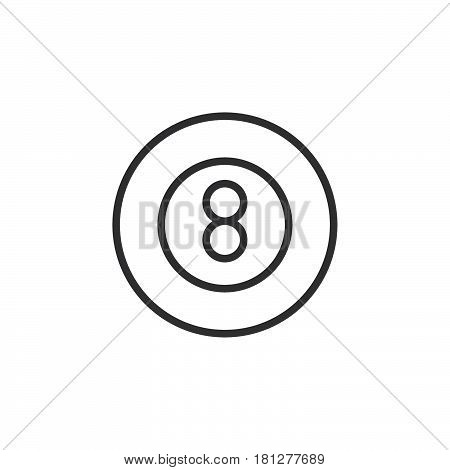 Eight ball pool game line icon outline vector sign linear style pictogram isolated on white. Billiard symbol logo illustration. Editable stroke. Pixel perfect