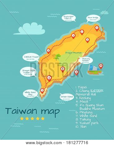 Cartoon Taiwan map of famous places of interest with five-star rating. Big sightseeing tour round Chinese island. Geographical object in Pacific Ocean vector illustration. Travel to Oriental country. poster