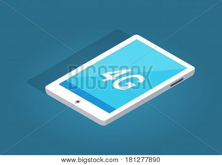 Modern white tablet with 4G function on blue background. Modern technologies vector illustration. Must have device with all needed abilities. Super fast internet connection in simple tablet.