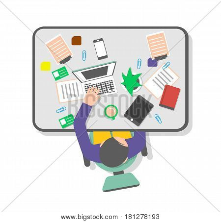 Top view workplace of office manager vector illustration. Young man working on laptop at table with tablet, smart phone and cup of coffee. Business workspace , coworking space concept in flat design
