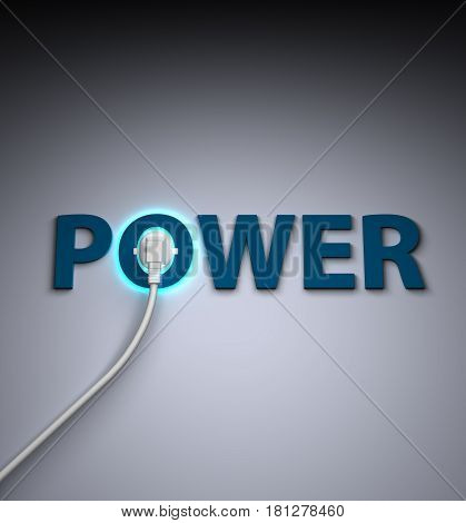 power text and poer concept 3d render work