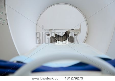 Professional apparatus. Close up of a modern sophisticated MRI scanner being designed for medical examination