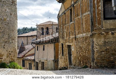 Popular architecture of Calatanazor Soria Spain. Stroll through the streets of the village with houses of great typical flavor. It seems that we have moved several centuries in the past.