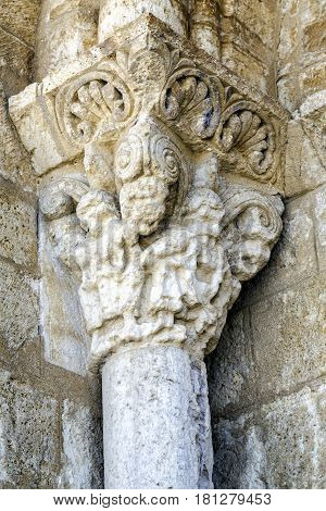 Detail eave corbels St. Martin Church in Romanesque style in Fromista Palencia Castilla y Leon Spain