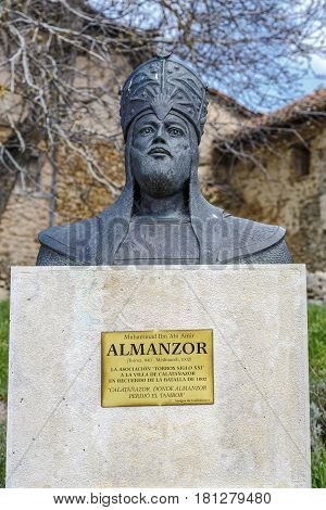 Calatanazor Spain - April 12 2014: Statue of Almanzor: Bust of the Muslim leader whose defeat in the legendary battle of Calatanazor has made known this Soriano people.