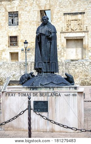 Berlanga de Duero Spain - April 14 2014: Statue of Fray Tomas de Berlanga Soria Province Castile and Leon Spain