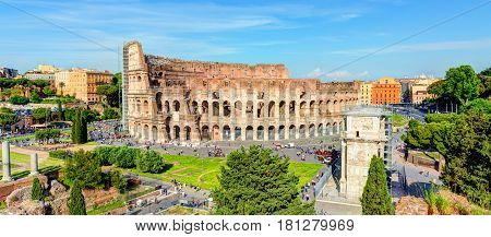 Panoramic view of the Colosseum (Coliseum) in Rome, Italy.  The Colosseum is an important monument of antiquity and is one of the main tourist attractions of Rome.