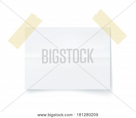 Paper sheet with adhesive tape element isolated on white background vector illustration. One paper sheet ready for message. Office equipment object