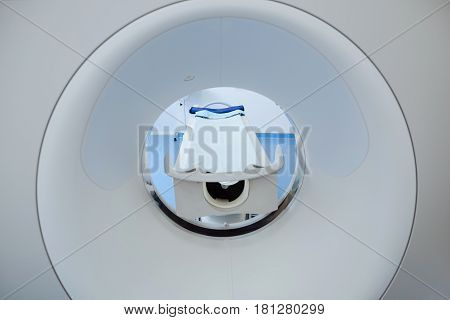 Latest developments. Close up of a modern professional MRI scanner being used by doctors for cancer diagnostics