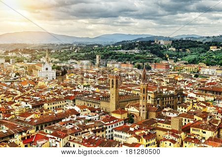 View of Florence from the Duomo to the Palazzo Vecchio and the Basilica of Santa Croce, Italy