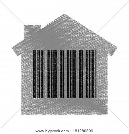 house with bar code isolated icon vector illustration design