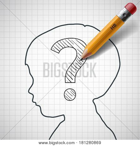 Pencil drawing a question mark in the child head. Stock vector illustration.